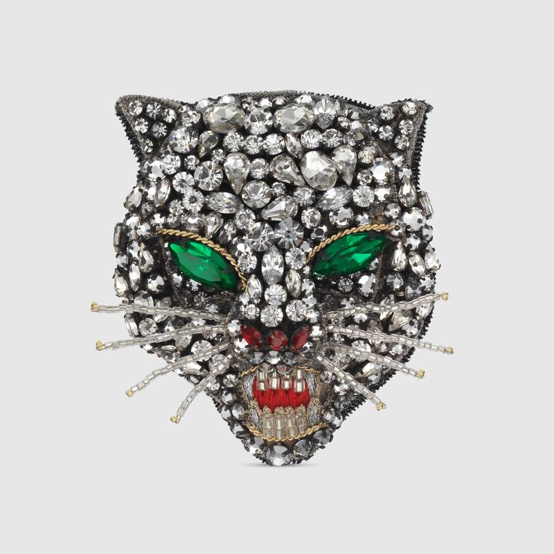 Gucci Crystal Cat Head Brooch